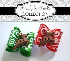 Reindeer - Christmas Dog Bow by BeautybyParis on Etsy,