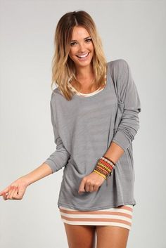 divided long sleeve top | Cotton On Cute idea to layer a dress with a thin long sleeve!