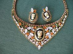 Hobe' Cameo Bib Necklace & Earrings