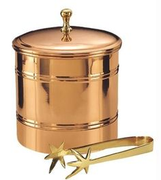 6.25 Dia. x 7 H. Décor Copper Lined Ice Bucket w-Brass 7.25 Tongs 3 Qt