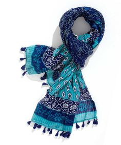 Turquoise & Ocean Arabesque Tassel Scarf #zulily #ad *pretty blue
