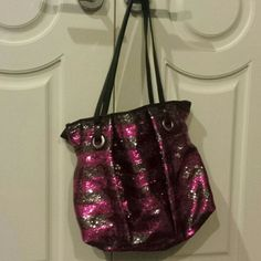 Super blingy purse So pretty  pink and black sequins . Looks new candies Bags Totes