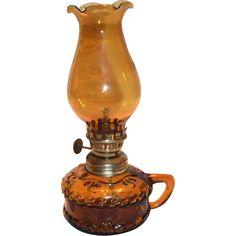 Amber Transparent Glass Miniature Hurricane Lamp