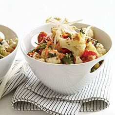 For this vegetarian Vietnamese stir-fry, featuring asparagus, cauliflower and bell pepper, Marcia Kiesel substitutes soy sauce for the more traditional fish sauce. Lemongrass, basil and coconut milk make the dish fragrant and slightly sweet.