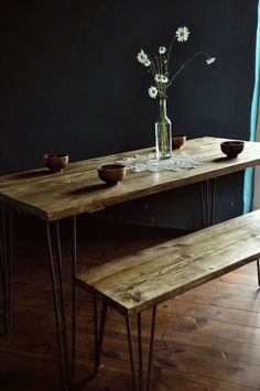 Reclaimed Wood Dining Table & Bench Industrial Rustic Hairpin Vintage Scaffold