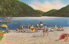 Vintage Beach Scene Hungry Mother State Park, Marion, Virginia
