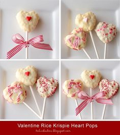 Lex's class party :: three chickadees: valentine rice krispie heart pops