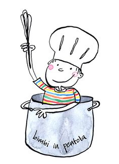 """""""Bimbi in pentola"""" (Kids in the pot), illustration for a cooking classes business Cooking Classes, Objects, Snoopy, Free, Ink, Watercolor, Lettering, Canvas, Business"""