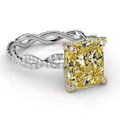2.50 Ct. Canary Cushion Cut Diamond Eternity Twist Shank Engagement Ring VS2 EGL - Canary Diamond Engagement Rings