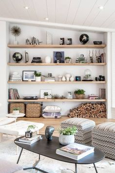 Having small living room can be one of all your problem about decoration home. To solve that, you will create the illusion of a larger space and painting your small living room with bright colors c… Interior Design Living Room, Living Room Designs, Living Room Decor, Living Room Shelving, Shelving Decor, Living Room Bookshelves, Storage Ideas Living Room, Shelving Ideas, Wall Of Bookshelves