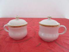 Deux pots à crème en faience fine de Lunéville ou Saint-Clément(2).