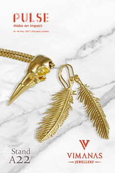 Our 18k Gold Feather Earrings and Raven Skull Necklace are two of the designs we will have on display at the Pulse trade show this May in London. This is our favourite show as the designs and brands are beautiful and unique and we always leave feeling inspired.  We'll be in the Maker Section so if you're attending please come and say Hello! #Pulse17 #MakeAnImpact #PulseLaunch #jewellery #jewellerybuyer