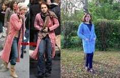 """Blue crochet coat inspired by Lindsay Lohan and Samaire Armstrong in the film """"Just My Luck""""."""