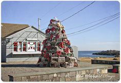 """This is a """"Valentine Tree"""" of Lobster traps...Yes, lobster traps!  New England sense of humor...:)"""
