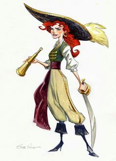 Captain Kate Capsize by Steve Purcell! Monkey Island 2 concept art - Lucasarts game