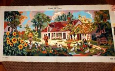 "Completed Needlepoint Farm House Dog Chickens Sunflowers Royal Paris 43.5""x18.5"" Ready to frame! Beautiful!"