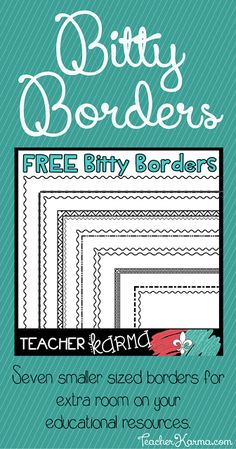 "Bitty Borders: FREE Clipart for Teachers Hey y'all! Jen Bradshaw here fromTeacherKARMA.com Don't you just hate it when you are putting together a resource and you don't have enough room to fit everything on ONE PAGE?Grab theseFREE Bitty Borders. They are little bitty borders that will leave your resources with plenty of room for the ""good stuff"". Best wishes! Jen Bradshaw frames free borders free clipart free frames little borders skinny borders teacher borders teacher clipart teacher…"