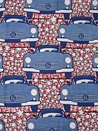 Tissu africain super wax imprimé motif voiture bleu claire marron blanc 100%…