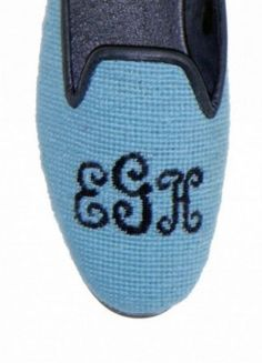 by paige needlepoint monogrammed shoes