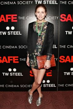 Mix-print master Olivia layered a cropped black jacket over a tropical-print top and matching skirt with silver Sergio Rossi oxfords while out in NYC. Re-create Olivia's flawless late-night look with a cropped black jacket, printed pairing, and these metallic Bass brogues ($89).                  Image Source: Getty