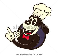 Vintage toons: retro cartoon chef dog, cook hat, pointing finger