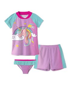 Loving this Pink Unicorn Short-Sleeve Rashguard Set - Toddler & Girls on #zulily! #zulilyfinds