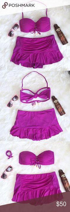 Bleu Rod Beattie   Purple Skirted Lace Up Bikini Super cute & flattering purple skirted bikini by Bleu Rod Beattie. Top features lace up detail with gold hardware & a removable halter strap. Top is padded for support & coverage. Bottom features an overlaying skirt. Size 4. Excellent condition! Bleu Rod Beattie Swim Bikinis
