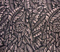 Bruce Goold's Banana's Linocut Textile print