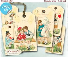 75% OFF SALE My Love Tags  Digital Collage by KristieArtDesign