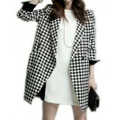 Houndstooth Clothing for Women | Wholesale Elegant Long Sleeve Lapel Neck Houndstooth Coat For Women ...