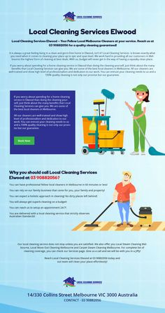Get Local Cleaners in Elwood from Local cleaning Services. Get weekly, fortnightly, monthly, end of lease cleaning services. Cleaning Services, Feelings, Housekeeping, Maid Services