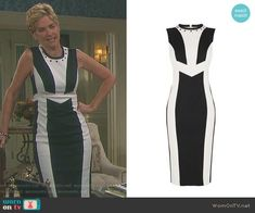 Eve's black and white colorblock dress on Days of our Lives.  Outfit Details: https://wornontv.net/90698/ #DaysofourLives