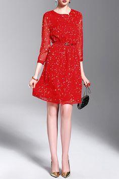 Pontilhado vermelho Cheongsam Botão Vestido com cinto | Vestidos de comprimento do joelho em DEZZAL