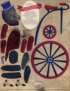DIY Circus Lion on Pennyfarthing Bicycle Paper par ArtistInLALALand, $3,50
