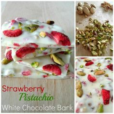 This strawberry pistachio white chocolate bark is a great summer treat. The burst of colors and fruitiness make it the perfect summer chocolate. 21 Day Fix Desserts, Köstliche Desserts, Frozen Desserts, Healthy Dessert Recipes, White Chocolate Bark, White Chocolate Strawberries, Dried Strawberries, Freeze Dried Fruit, Frozen Yoghurt