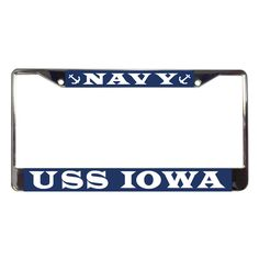 Show your Navy pride on your car or truck with this durable & good looking USS Iowa Metal License Plate Frame.  These metal license plate frames stand out from a distance as the colors are vibrant & the metal is brushed with a chrome finish to make them shine. Printed & Assembled in the USA.