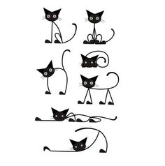 Cat Decal Set Vinyl Wall Decals Set of 7 Crazy Cats by Cat Decal Set Vinyl Wall Decals Set de 7 gatos locos por Cartoon Silhouette, Stick Figure Drawing, Cat Drawing, Cat Tattoo, Crazy Cats, Easy Drawings, Rock Art, Doodle Art, Painted Rocks
