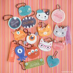 Download our designs and print them onto shrink film to create adorable shrinky dink name tags and monster keychains. They look great…