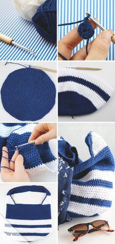 Crochet chic bag - free tutorial for beginners - Talu.de , Crochet chic bag - free tutorial for beginners - Talu. Crochet Pouch, Knit Crochet, Crochet Hats, Embroidery For Beginners, Knitting For Beginners, Bag Women, Easy Knitting Projects, Woven Wrap, Pouch Bag