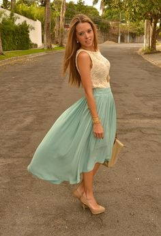 MINT PLEATED SKIRT  , Zara in Shirt / Blouses, Zara in Skirts, Bershka in Heels / Wedges