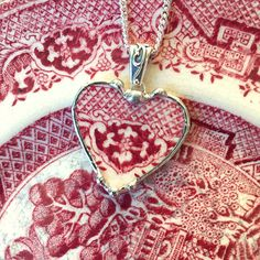 Broken china jewelry heart shaped necklace pendant antique red willow or pink willow china