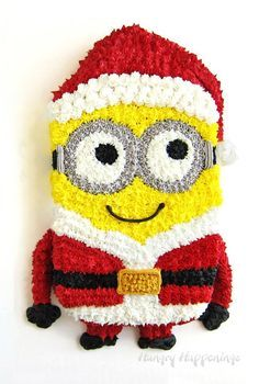 Make an adorable Minion Santa Cake for your big holiday party this year! This adorable treat is so much fun to make and soooo cute! Christmas Desserts, Christmas Treats, Christmas Baking, Christmas Cakes, Holiday Cakes, Christmas Goodies, Christmas Stuff, Christmas Recipes, Birthday Desserts