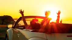 Photo about Happy family in a cabriolet convertible car at the sunset in summer. Image of happy, together, active - 32855568