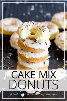 Baked donuts made the quick and easy way with a pre-made boxed cake mix and topped with a sweet sugary glaze and sprinkles! The post Cake Mix Donuts appeared first on Win Dessert. Donut Pan Recipe, Cake Mix Donuts Recipe, Baked Donut Recipes, Cake Mix Recipes, Cake Mix Cookies, Box Cake Mix, Easy Cake Donut Recipe Baked, Recipe With Cake Mix, Boxed Cake Recipes