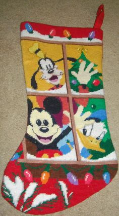 RETIRED DISNEY Mickey Mouse Goofy & Donald Duck Needlepoint Cross Stitch Christmas STOCKING