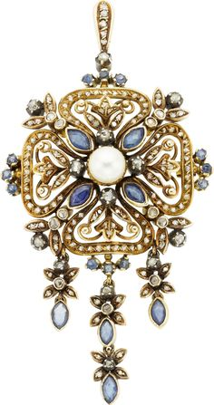 Antique Diamond, Sapphire, Cultured Pearl, Silver-Topped Gold Pendant-Brooch. The pendant-brooch features marquise and round-shaped sapphires weighing a total of approximately 2.00 carats, enhanced by rose-cut diamonds, accented by a cultured pearl measuring 7.10 x 7.14 mm, set in silver-topped gold, completed by a pinstem, catch and fold down bail, Portuguese hallmarks.