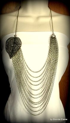 Bold Leaf and Chains Statement Necklace by byBrendaElaine on Etsy, $52.00