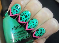 80s turquoise pink black print nails