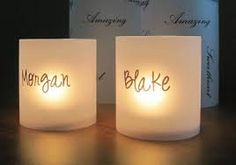 wedding table name place cards... Idea: (not sure if doable) have place cards be transparent stickers w guest name on there, guest can stick to candle like this that are already on tables, other side of candle already has our names & wedding date...voila! Instant wedding favor dual purpose table decoration tea light....is that not brilliant???