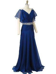 Elegant blue chiffon gown with a glamorous 30s vibe. This vintage inspired beauty conjures images of Carole Lombard and Ginger Rogers floating across the dance floor! A lovely choice for bridesmaids, deco themed weddings, classy prom dress or fancy dress ball gown.